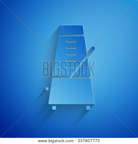 Paper Cut Classic Metronome With Pendulum In Motion Icon Isolated On Blue Background. Equipment Of M