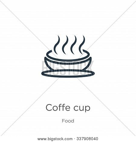 Coffe Cup Icon. Thin Linear Coffe Cup Outline Icon Isolated On White Background From Food Collection