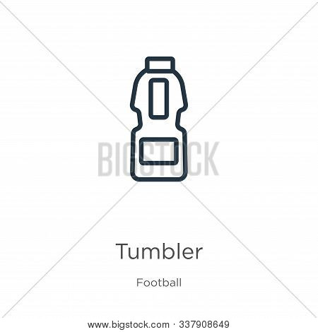 Tumbler Icon. Thin Linear Tumbler Outline Icon Isolated On White Background From Football Collection
