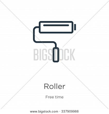 Roller Icon. Thin Linear Roller Outline Icon Isolated On White Background From Free Time Collection.