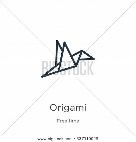 Origami Icon. Thin Linear Origami Outline Icon Isolated On White Background From Free Time Collectio