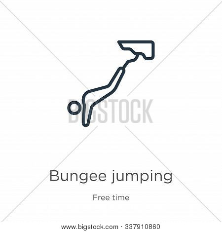 Bungee Jumping Icon. Thin Linear Bungee Jumping Outline Icon Isolated On White Background From Free