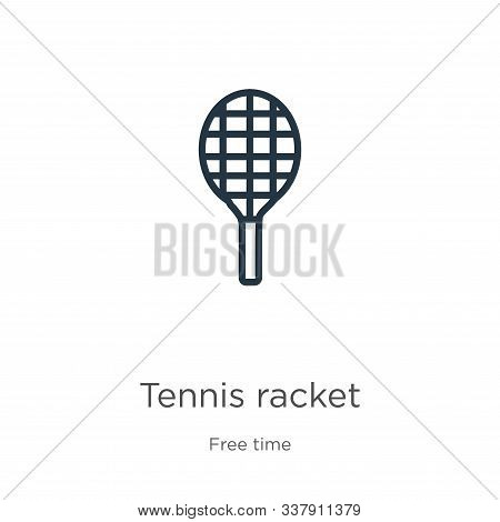 Tennis Racket Icon. Thin Linear Tennis Racket Outline Icon Isolated On White Background From Free Ti