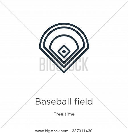 Baseball Field Icon. Thin Linear Baseball Field Outline Icon Isolated On White Background From Free
