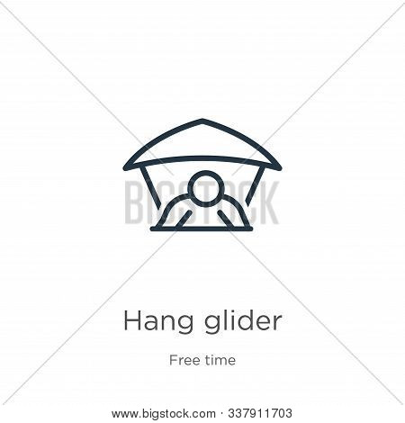 Hang Glider Icon. Thin Linear Hang Glider Outline Icon Isolated On White Background From Free Time C