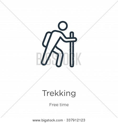 Trekking Icon. Thin Linear Trekking Outline Icon Isolated On White Background From Hobbies Collectio