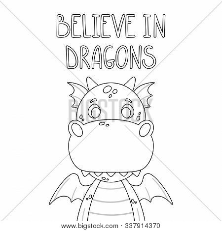 Cute Cartoon Dragon. Toothy Smiling Green Funny Dinosaur With Yellow Wings. Believe In Dragon. Page