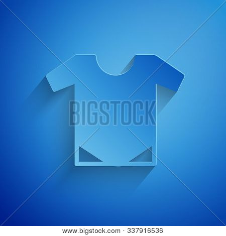Paper Cut Baby Onesie Icon Isolated On Blue Background. Baby Clothes Symbol. Kid Wear Sign. Paper Ar