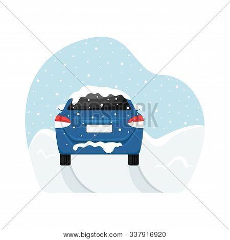 The Car Got Stuck During A Snowfall In A Snowdrift. Flat Vector Illustration.