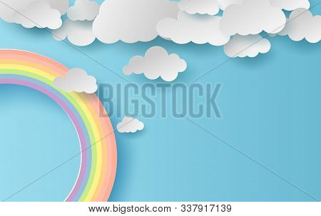 3d Illustration Summer Season Landscape With A Rainbow On Blue Sky Background. Cloudscape On Clean A