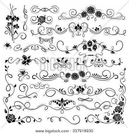 Set Of Ornamental Filigree Flourishes And Thin Dividers On White Background. Classical Vintage Eleme