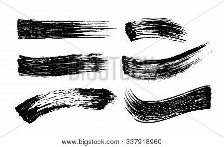 Set Of Cosmetic Mascara Strokes On White Background. Realistic Mascara Smears, Vector Illustration