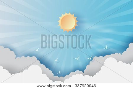 Paper Cut And Craft Of Background With Clouds On Blue Sky.landscape For Sunlight On Cloudscape.summe