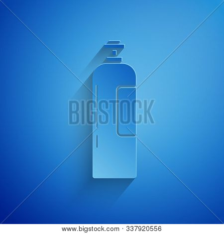 Paper Cut Industrial Gas Cylinder Tank For All Inert And Mixed Inert Gases Icon Isolated On Blue Bac