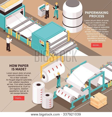Papermaking Material Manufacture Process 2 Horizontal Isometric Web Banners With Sheet Forming Machi