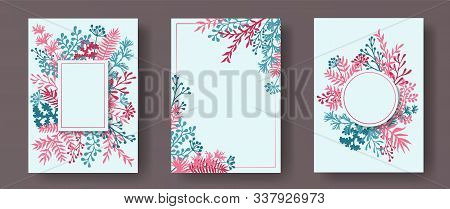 Hand Drawn Herb Twigs, Tree Branches, Flowers Floral Invitation Cards Set. Bouquet Wreath Vintage In