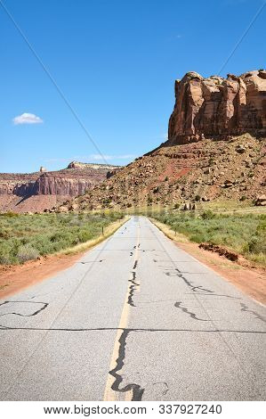Rock Formations By A Road In Canyonlands National Park, Usa.
