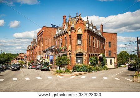 Downtown In Belfast, Little Town In North Of Maine, Usa