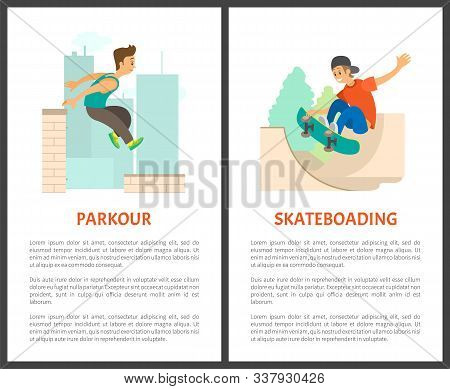 Parkour In City Urban Lifestyle Of Male Vector, Skateboarding Person Wearing Cap. Extreme Sports And