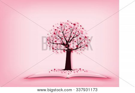 Illustration Of Love Valentine's Day Concept A Tree With Heart Shape Leaves Growing On Open Book In