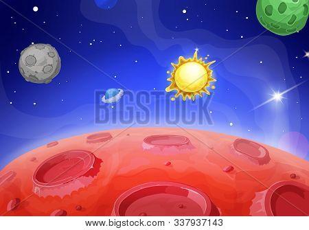 Cartoon Alien Landscape. Lunar Red Planet. Sun On Space Background