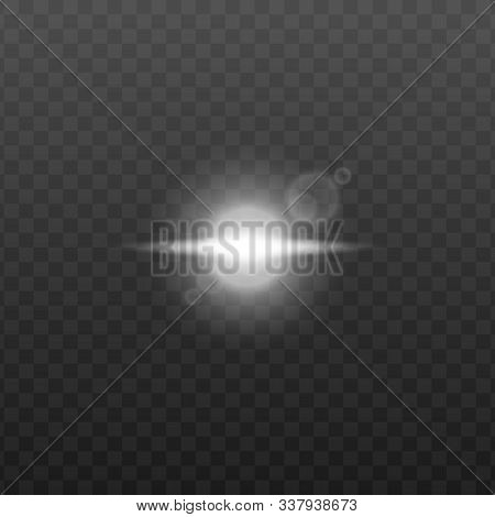 Isolated White Light Source With Bright Lens Flare Effect And Single Long Beam