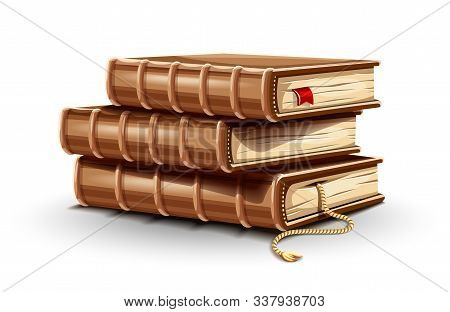 Stack Pile Of Paper Books With Old Leather Covers And Bookmark Between Pages. Library Reading. Dicti