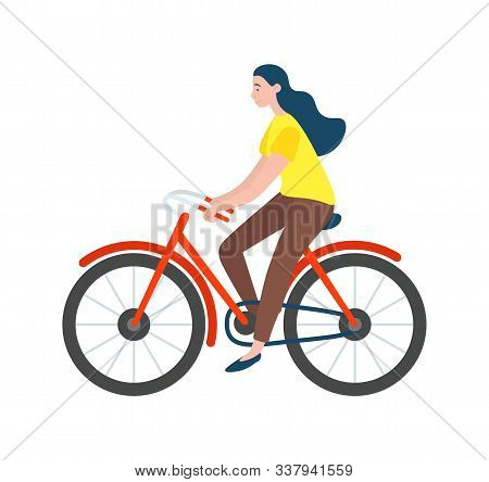Woman Riding On Bike Isolated Vector Cartoon Character. Vector Female Bicyclist Cycling On Modern Ec
