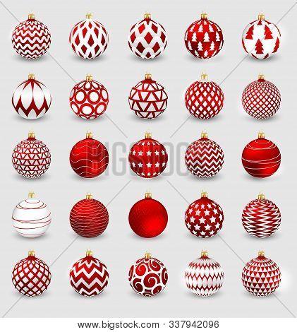Set Of Decorative Red Christmas Balls Isolated On White Background, Illustration.