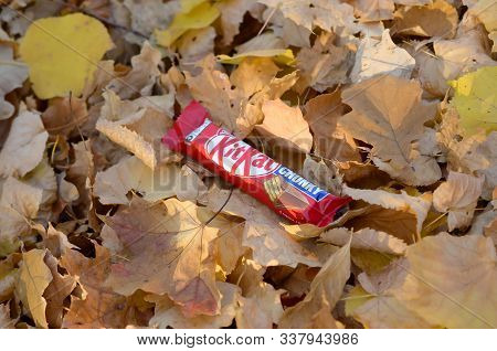 Kit Kat Chocolate Bar In Red Wrapping Lies On Autumn Leaves Background. Kit Kat Created By Rowntrees