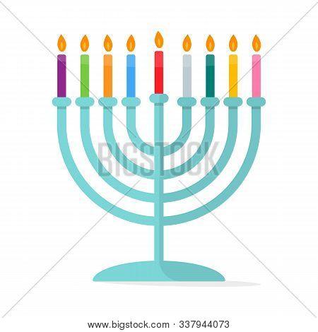 Jewish Tradition Menorah Hanukkah Icon Vector Illustration
