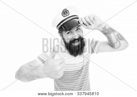 Welcome Aboard. Sailor Man Give Salute And Thumbs Up. Bearded Man Salute With Blinder. Hand Salute.