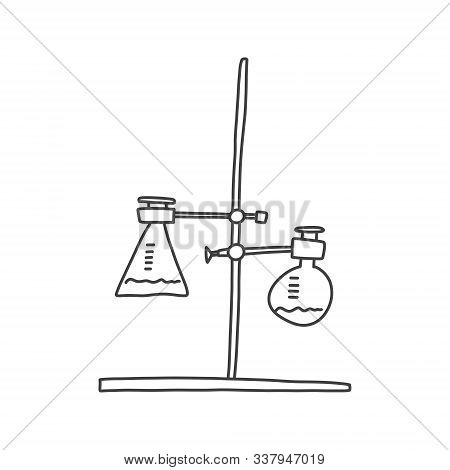 Drawn Sketch, Chemistry Tube, Experiment Holder. Rack Mount Chemical Reagents Glassware, Modern Scie