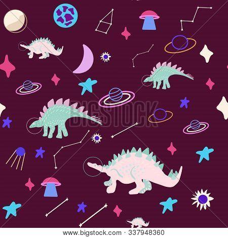 Space Girl Dinosaur Seamless Pattern On Maroon. Cute Wild Monster Endless Design. Joyous Reptile Gal