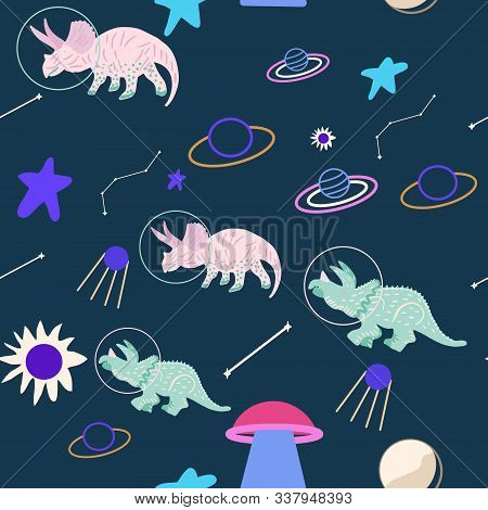 Space Dino Seamless Pattern On Blue. Cute Wild Galaxy Monster Endless Design. Joyous Reptile Astrona