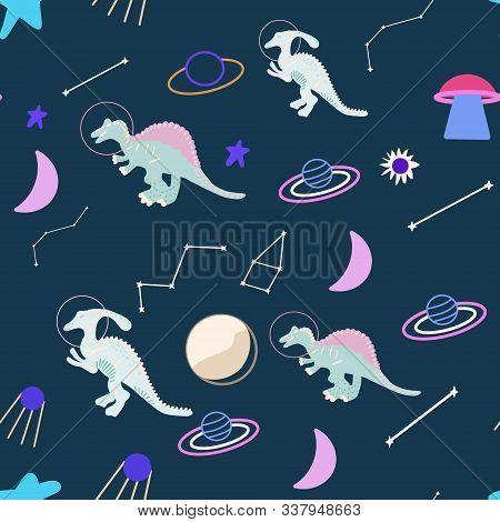 Space Dinosaur Seamless Pattern On Blue. Wild Galaxy Monster Endless Design. Joyous Reptile Astronau
