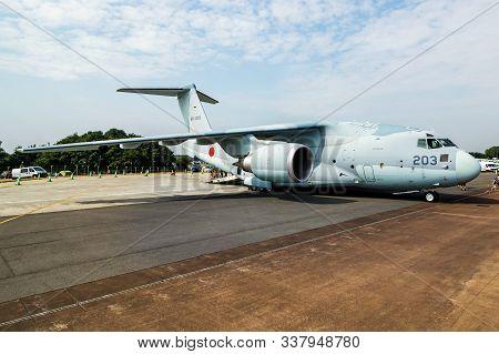 Fairford / United Kingdom - July 13, 2018: Japan Air Self-defense Force Kawasaki C-2 68-1203 Transpo