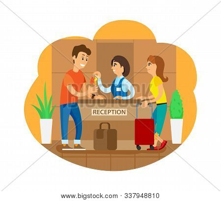 Tourists On Reception Vector, Man And Woman Standing By Counter With Baggage. Couple Traveling Toget