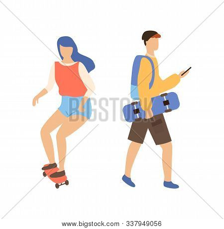 Skateboarding Couple, Woman On Skateboard And Man Skateboarder With Board In Hands Typing Message. V