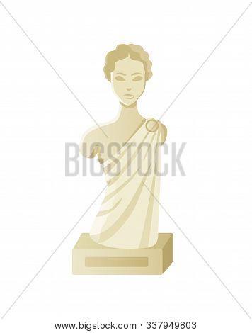 Bust Of Woman, Stone Antique Sculpture, Element Of Exhibition, Portrait View Of Lady Monument, Godde