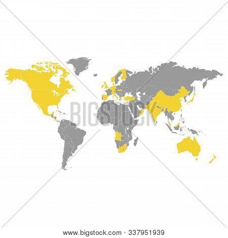 Similar World Map Isolated On White Background. Worldmap Vector Template For Website, Design Infogra