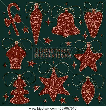Christmas Greeting Card With Composition Of Festive Elements Such As Candy Cane, Star, Christmas Tre