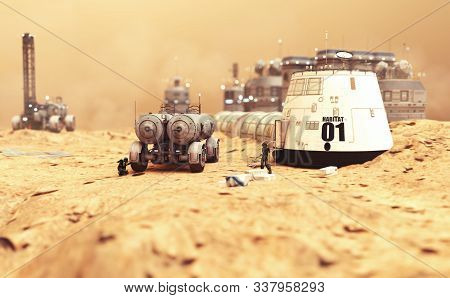 Habitat Settlement Research And Living Quarters On The Desolate Red Planet Of Mars. 3d Rendering Ill
