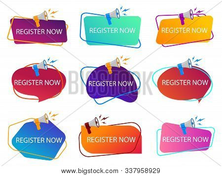 Register Now With Megaphone. Loudspeaker With Title Of Registration Now. Subscribe Today Tag, Logo.