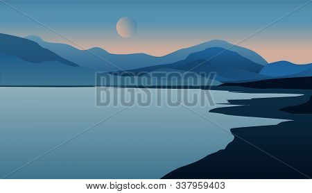 Landscape With Mountain Peaks And The Moon And Lake. The Concept Of Serene Relaxation And Meditation