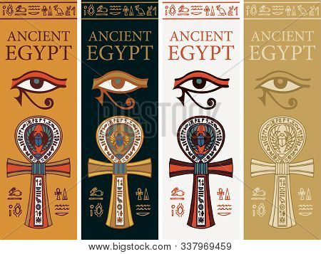 Set Of Vector Banners With Coptic Ankh Cross, Eye Of Horus And Hieroglyphs. The Ancient Egyptian Rel