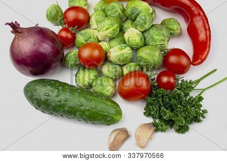 Homegrown Vegetables. Fresh Organic Vegetables. Vegetables From Garden. Colorful Vegetable. Healthy
