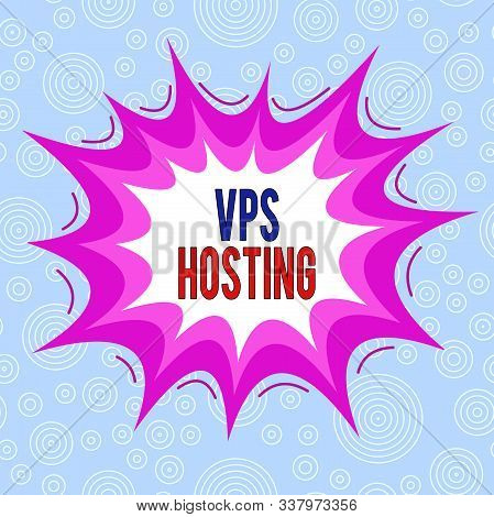 Conceptual hand writing showing Vps Hosting. Business photo text mimics a dedicated server within a shared hosting environment Asymmetrical uneven shaped pattern object multicolour design. poster