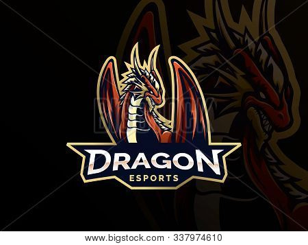 Dragon Sport Gaming Mascot Logo Template. Mythological Animals Dragon Sport. Esport Gaming Mascot Lo
