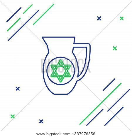 Blue And Green Line Decanter With Star Of David Icon Isolated On White Background. Pottery Jug. Orga